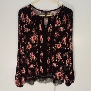 WHBM long sleeve floral drapey long sleeve top